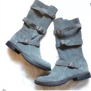 Farylrobin free people grey suede Moto boots 8.5 *